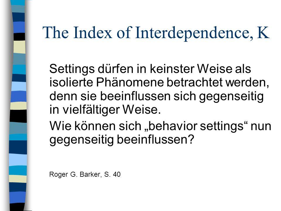 The Index of Interdependence, K Settings dürfen in keinster Weise als isolierte Phänomene betrachtet werden, denn sie beeinflussen sich gegenseitig in