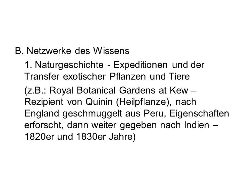 B. Netzwerke des Wissens 1. Naturgeschichte - Expeditionen und der Transfer exotischer Pflanzen und Tiere (z.B.: Royal Botanical Gardens at Kew – Rezi