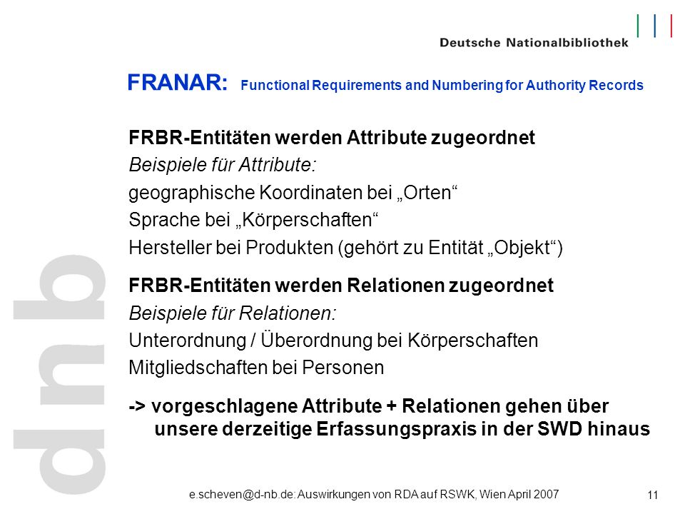 e.scheven@d-nb.de: Auswirkungen von RDA auf RSWK, Wien April 2007 11 FRANAR: Functional Requirements and Numbering for Authority Records FRBR-Entitäte