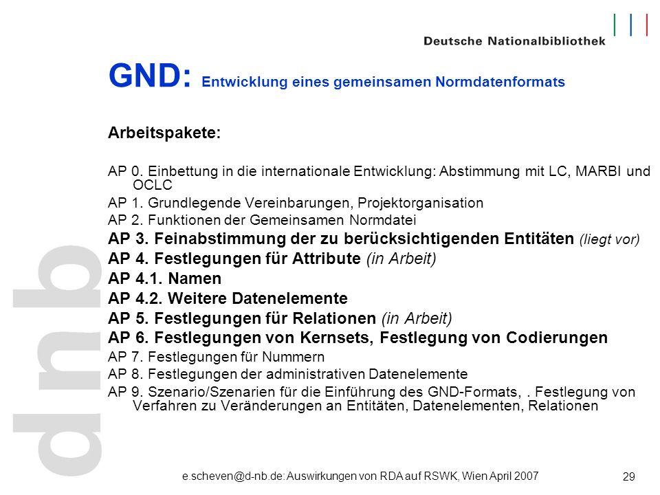 e.scheven@d-nb.de: Auswirkungen von RDA auf RSWK, Wien April 2007 29 GND: Entwicklung eines gemeinsamen Normdatenformats Arbeitspakete: AP 0. Einbettu