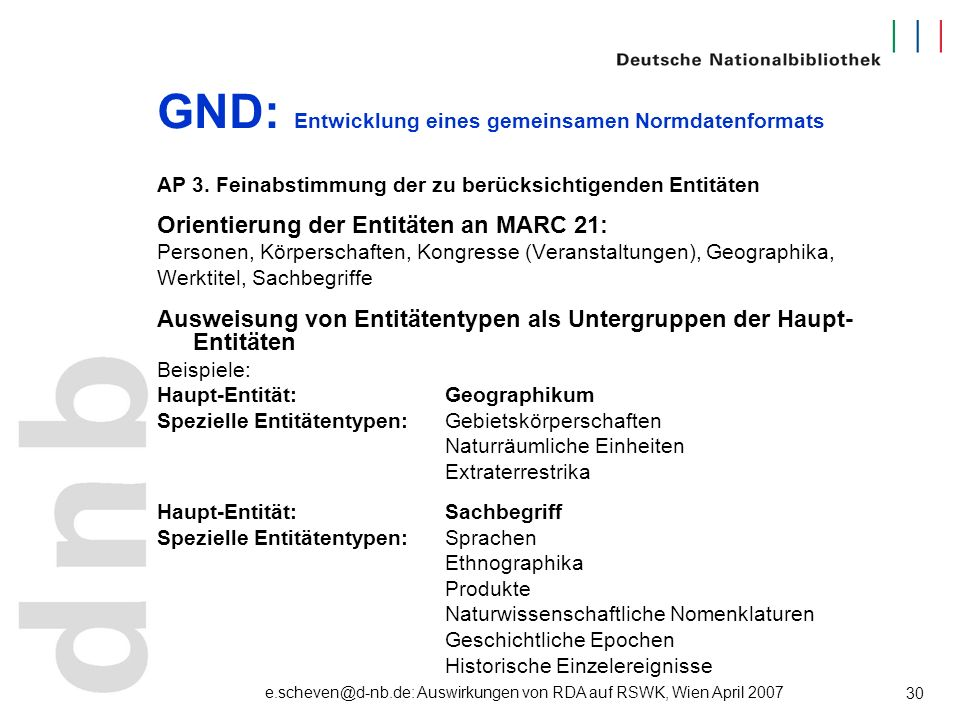 e.scheven@d-nb.de: Auswirkungen von RDA auf RSWK, Wien April 2007 30 GND: Entwicklung eines gemeinsamen Normdatenformats AP 3. Feinabstimmung der zu b
