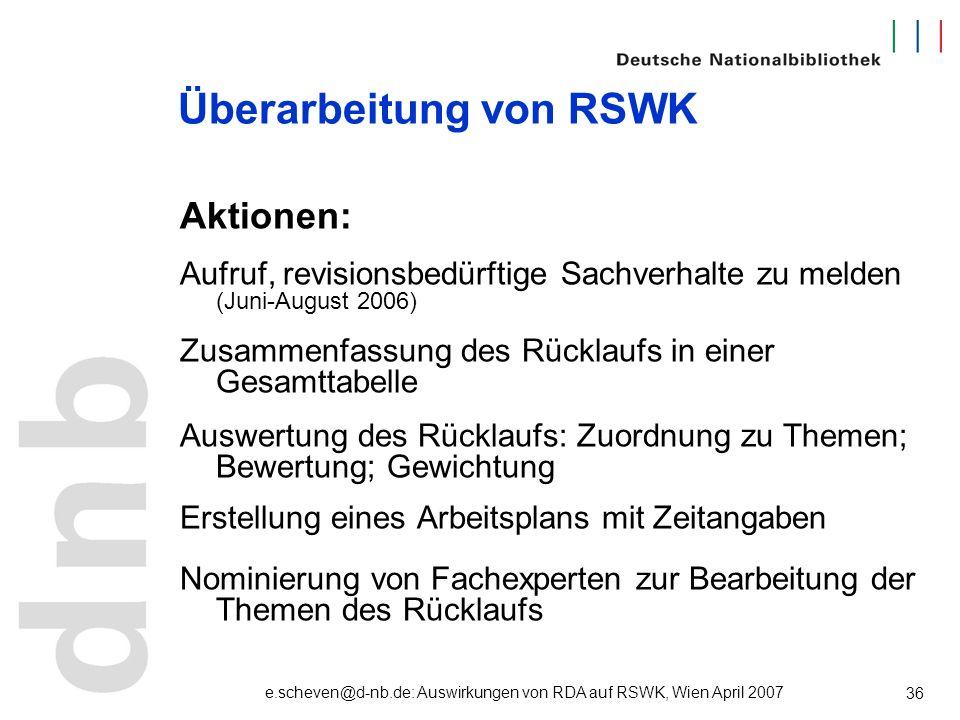 e.scheven@d-nb.de: Auswirkungen von RDA auf RSWK, Wien April 2007 36 Überarbeitung von RSWK Aktionen: Aufruf, revisionsbedürftige Sachverhalte zu meld