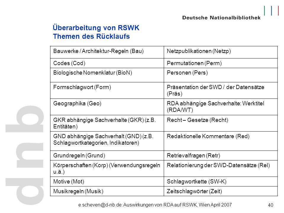 e.scheven@d-nb.de: Auswirkungen von RDA auf RSWK, Wien April 2007 40 Überarbeitung von RSWK Themen des Rücklaufs Bauwerke / Architektur-Regeln (Bau)Ne