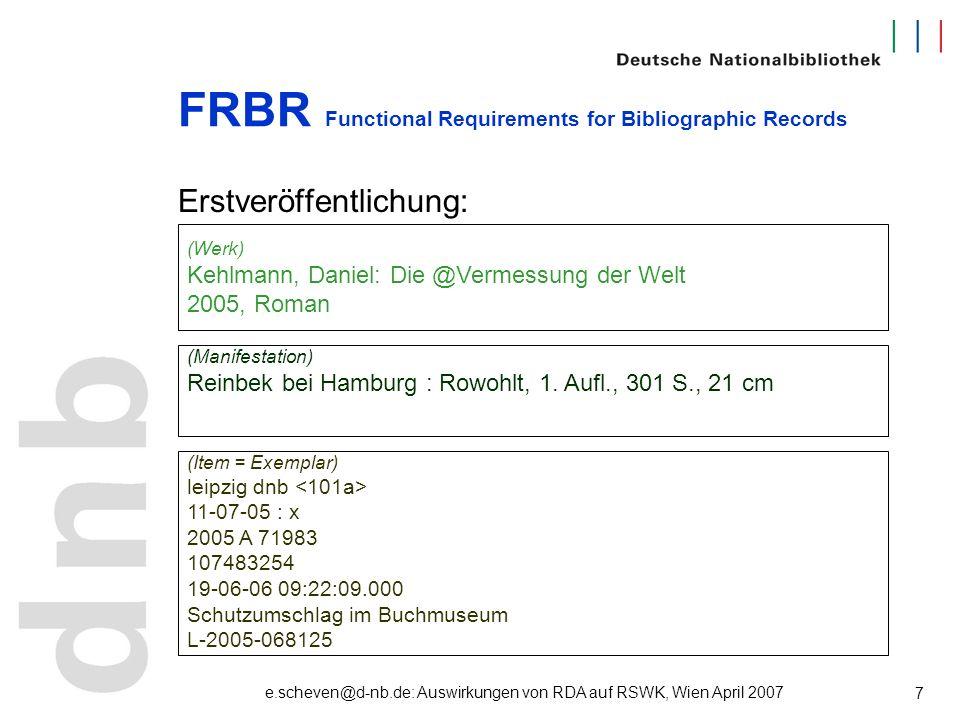 e.scheven@d-nb.de: Auswirkungen von RDA auf RSWK, Wien April 2007 7 FRBR Functional Requirements for Bibliographic Records Erstveröffentlichung: (Werk