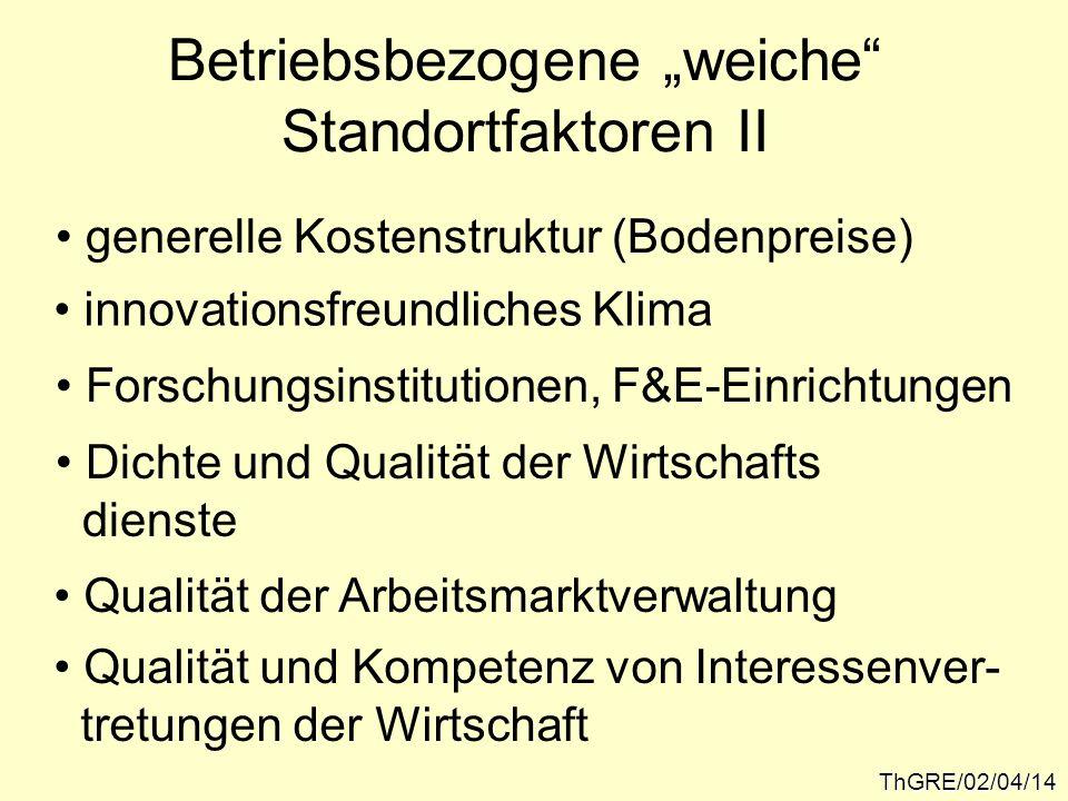 ThGRE/02/04/14 Betriebsbezogene weiche Standortfaktoren II generelle Kostenstruktur (Bodenpreise) innovationsfreundliches Klima Forschungsinstitutione
