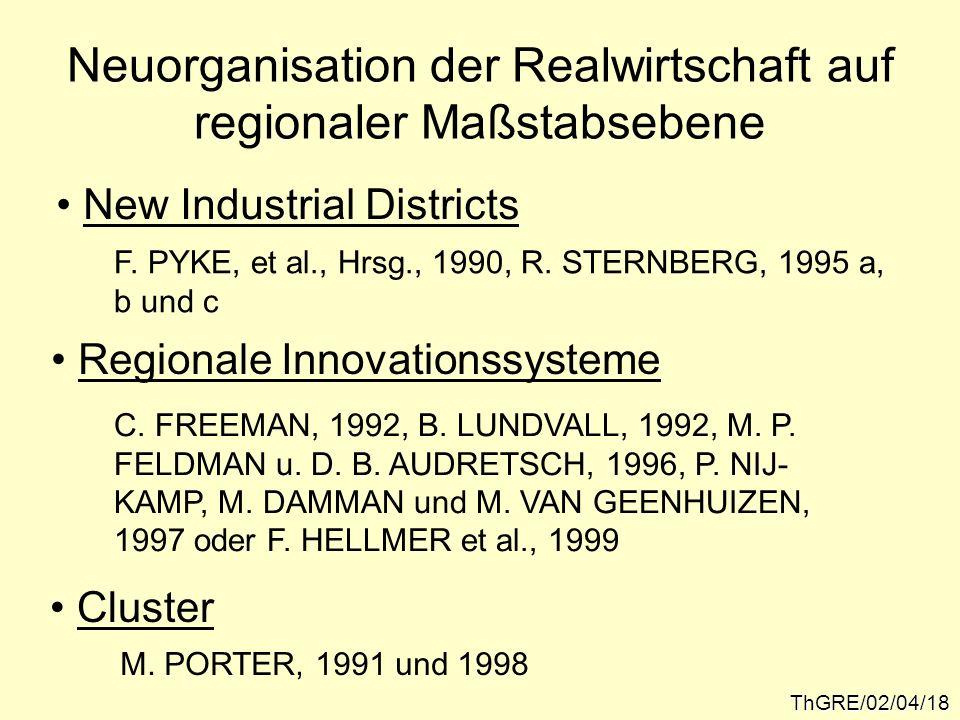 ThGRE/02/04/18 Neuorganisation der Realwirtschaft auf regionaler Maßstabsebene New Industrial Districts Regionale Innovationssysteme Cluster F. PYKE,
