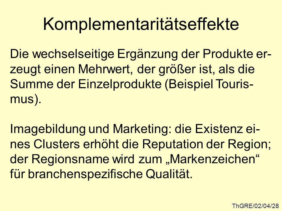 ThGRE/02/04/28 Komplementaritätseffekte Die wechselseitige Ergänzung der Produkte er- zeugt einen Mehrwert, der größer ist, als die Summe der Einzelpr