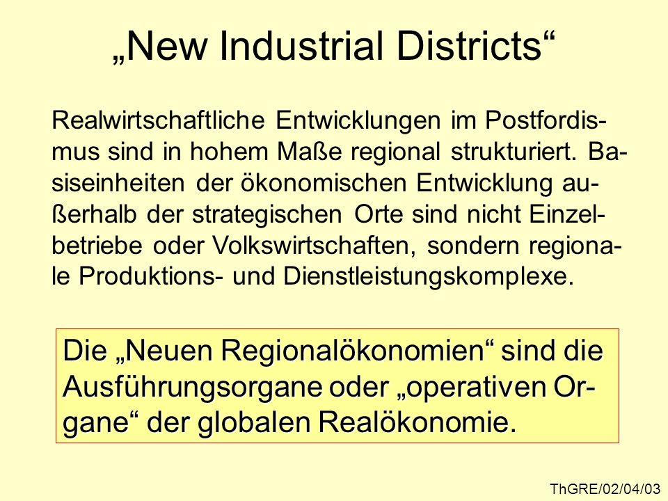 ThGRE/02/04/03 New Industrial Districts Realwirtschaftliche Entwicklungen im Postfordis- mus sind in hohem Maße regional strukturiert. Ba- siseinheite