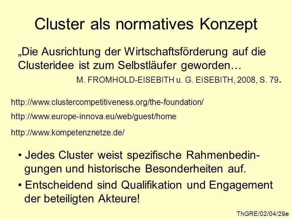 Cluster als normatives Konzept ThGRE/02/04/29e Die Ausrichtung der Wirtschaftsförderung auf die Clusteridee ist zum Selbstläufer geworden… M. FROMHOLD