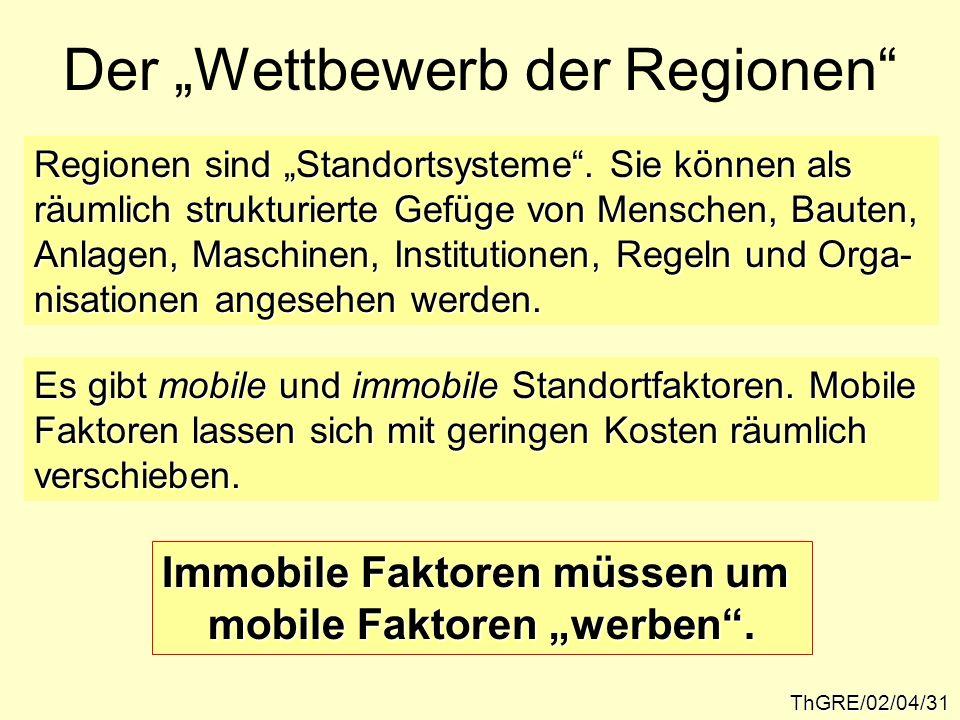 ThGRE/02/04/31 Der Wettbewerb der Regionen Regionen sind Standortsysteme. Sie können als räumlich strukturierte Gefüge von Menschen, Bauten, Anlagen,