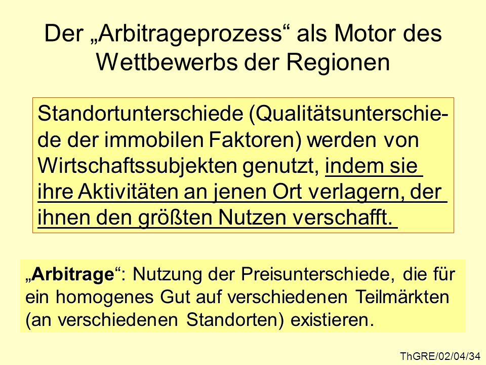 ThGRE/02/04/34 Der Arbitrageprozess als Motor des Wettbewerbs der Regionen Standortunterschiede (Qualitätsunterschie- de der immobilen Faktoren) werde