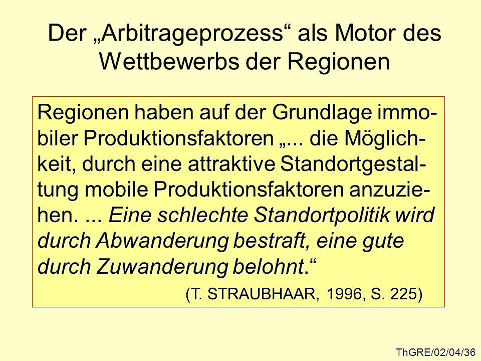 ThGRE/02/04/36 Der Arbitrageprozess als Motor des Wettbewerbs der Regionen Regionen haben auf der Grundlage immo- biler Produktionsfaktoren... die Mög