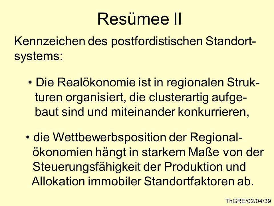 ThGRE/02/04/39 Resümee II Kennzeichen des postfordistischen Standort- systems: Die Realökonomie ist in regionalen Struk- turen organisiert, die cluste