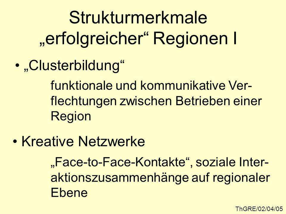 ThGRE/02/04/39 Resümee II Kennzeichen des postfordistischen Standort- systems: Die Realökonomie ist in regionalen Struk- turen organisiert, die clusterartig aufge- baut sind und miteinander konkurrieren, die Wettbewerbsposition der Regional- ökonomien hängt in starkem Maße von der Steuerungsfähigkeit der Produktion und Allokation immobiler Standortfaktoren ab.