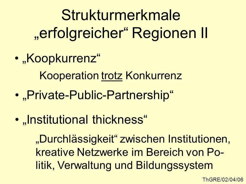 ThGRE/02/04/06 Strukturmerkmale erfolgreicher Regionen II Koopkurrenz Kooperation trotz Konkurrenz Institutional thickness Durchlässigkeit zwischen In