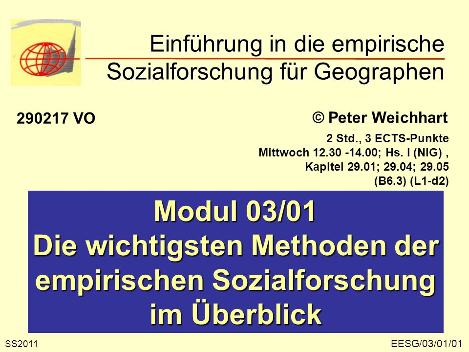 EESG/03/01/01 © Peter Weichhart Modul 03/01 Die wichtigsten Methoden der empirischen Sozialforschung im Überblick Einführung in die empirische Sozialf