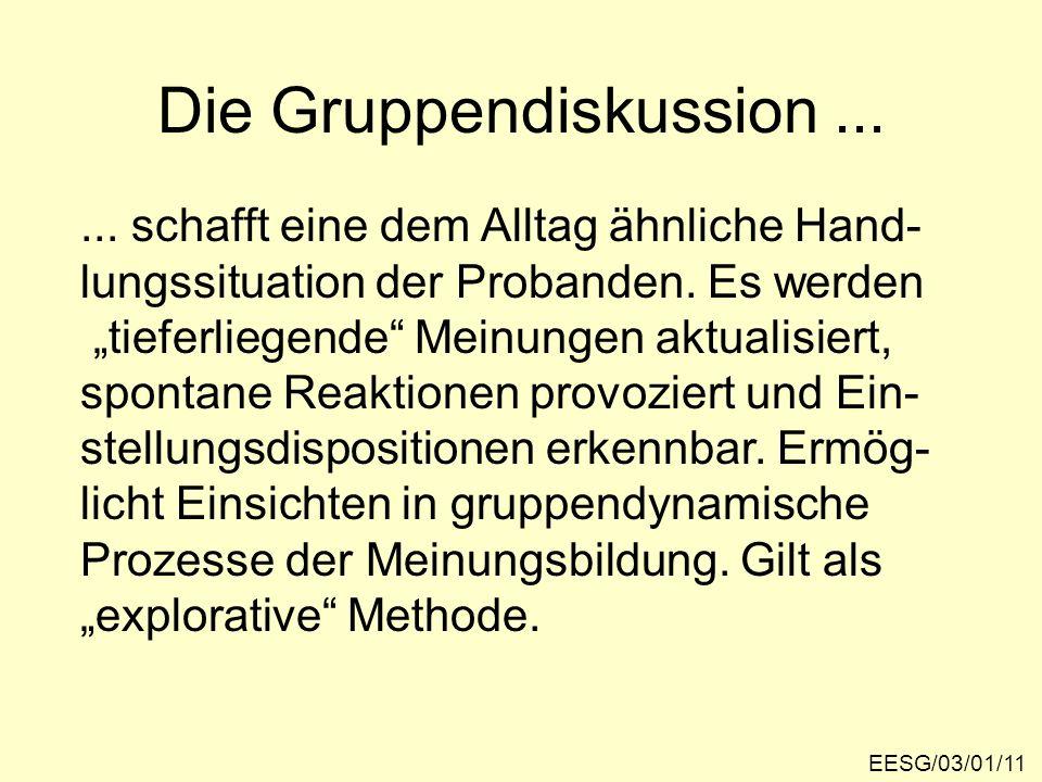 Die Gruppendiskussion... EESG/03/01/11... schafft eine dem Alltag ähnliche Hand- lungssituation der Probanden. Es werden tieferliegende Meinungen aktu