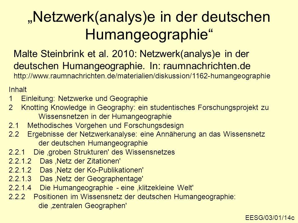 Netzwerk(analys)e in der deutschen Humangeographie Malte Steinbrink et al. 2010: Netzwerk(analys)e in der deutschen Humangeographie. In: raumnachricht