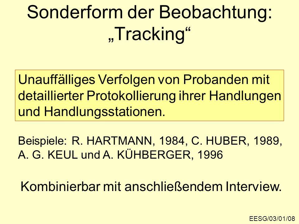 Sonderform der Beobachtung: Tracking EESG/03/01/08 Unauffälliges Verfolgen von Probanden mit detaillierter Protokollierung ihrer Handlungen und Handlu