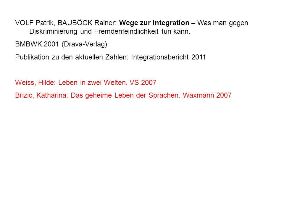 VOLF Patrik, BAUBÖCK Rainer: Wege zur Integration – Was man gegen Diskriminierung und Fremdenfeindlichkeit tun kann. BMBWK 2001 (Drava-Verlag) Publika