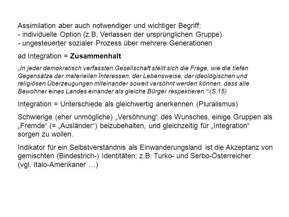 Assimilation aber auch notwendiger und wichtiger Begriff: - individuelle Option (z.B.