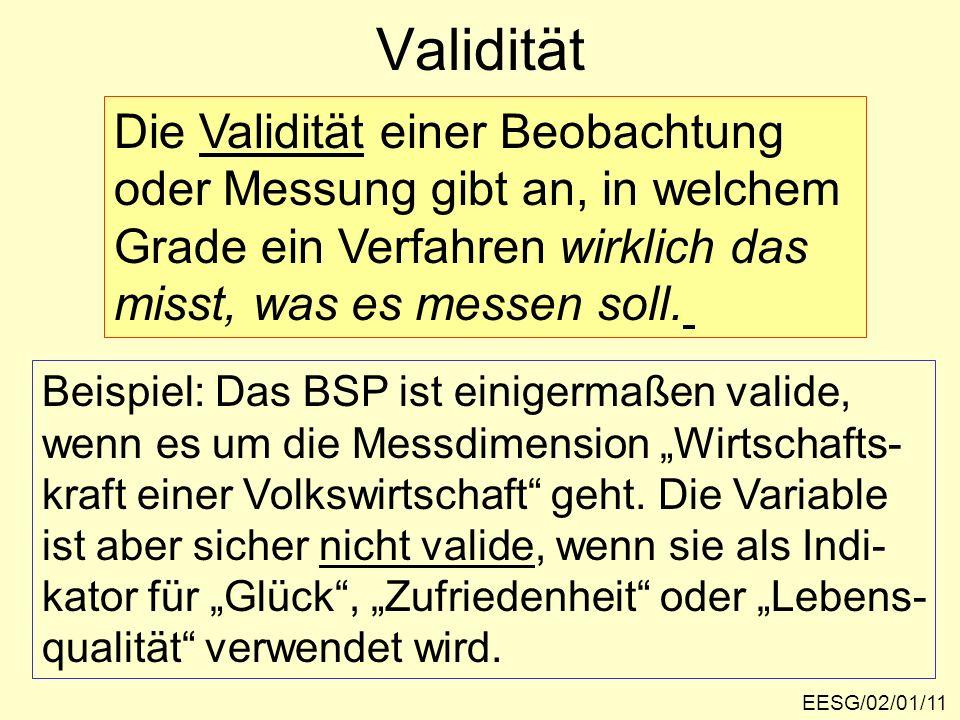 EESG/02/01/11 Validität Die Validität einer Beobachtung oder Messung gibt an, in welchem Grade ein Verfahren wirklich das misst, was es messen soll. B