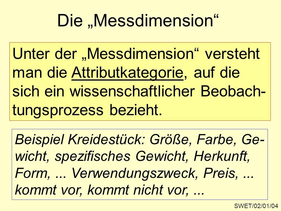 SWET/02/01/04 Die Messdimension Unter der Messdimension versteht man die Attributkategorie, auf die sich ein wissenschaftlicher Beobach- tungsprozess