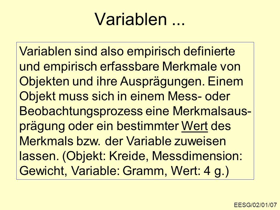 Variablen... EESG/02/01/07 Variablen sind also empirisch definierte und empirisch erfassbare Merkmale von Objekten und ihre Ausprägungen. Einem Objekt