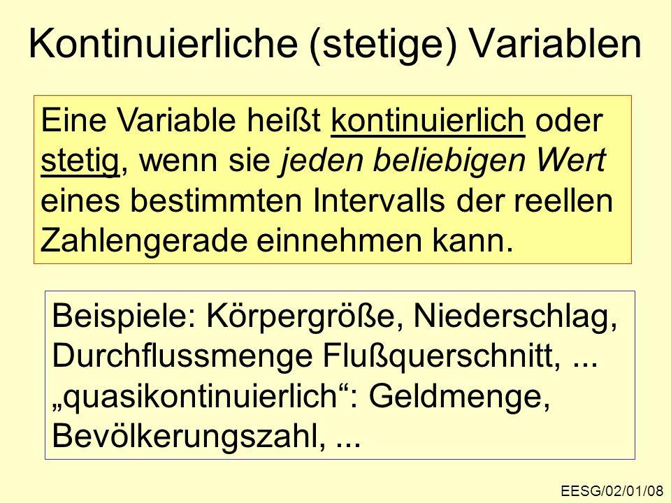 EESG/02/01/08 Kontinuierliche (stetige) Variablen Eine Variable heißt kontinuierlich oder stetig, wenn sie jeden beliebigen Wert eines bestimmten Inte