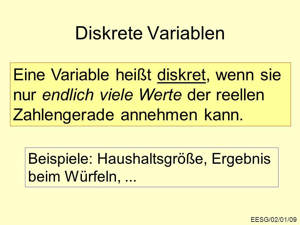 EESG/02/01/09 Diskrete Variablen Eine Variable heißt diskret, wenn sie nur endlich viele Werte der reellen Zahlengerade annehmen kann. Beispiele: Haus