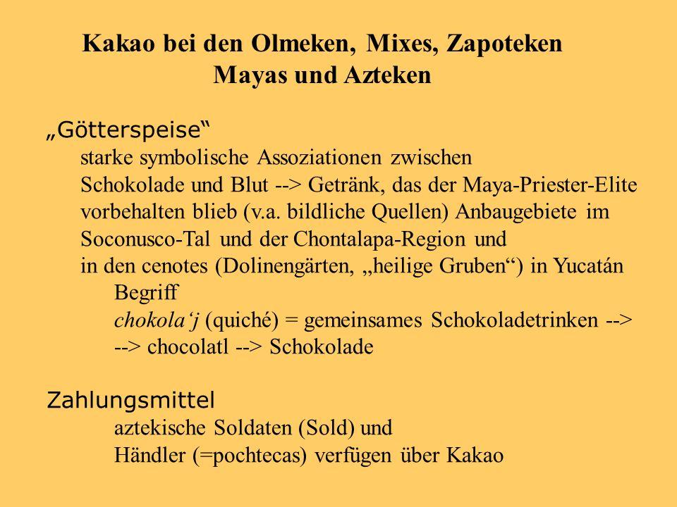 Götterspeise starke symbolische Assoziationen zwischen Schokolade und Blut --> Getränk, das der Maya-Priester-Elite vorbehalten blieb (v.a.