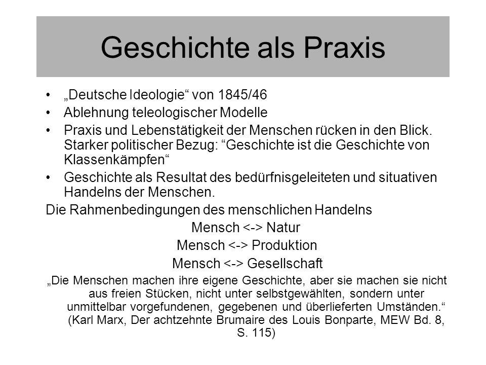 Geschichte als Praxis Deutsche Ideologie von 1845/46 Ablehnung teleologischer Modelle Praxis und Lebenstätigkeit der Menschen rücken in den Blick.