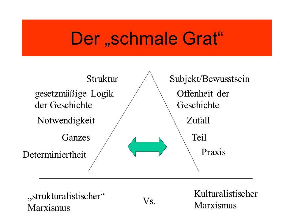 Der schmale Grat StrukturSubjekt/Bewusstsein NotwendigkeitZufall GanzesTeil Determiniertheit Praxis gesetzmäßige Logik der Geschichte Offenheit der Ge