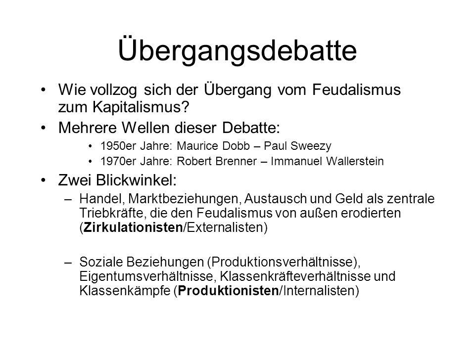 Übergangsdebatte Wie vollzog sich der Übergang vom Feudalismus zum Kapitalismus? Mehrere Wellen dieser Debatte: 1950er Jahre: Maurice Dobb – Paul Swee