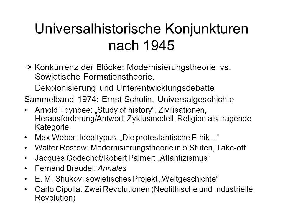 Universalhistorische Konjunkturen nach 1945 -> Konkurrenz der Blöcke: Modernisierungstheorie vs. Sowjetische Formationstheorie, Dekolonisierung und Un