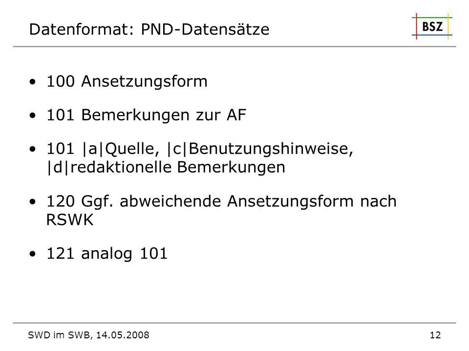 SWD im SWB, 14.05.200812 Datenformat: PND-Datensätze 100 Ansetzungsform 101 Bemerkungen zur AF 101  a Quelle,  c Benutzungshinweise,  d redaktionelle