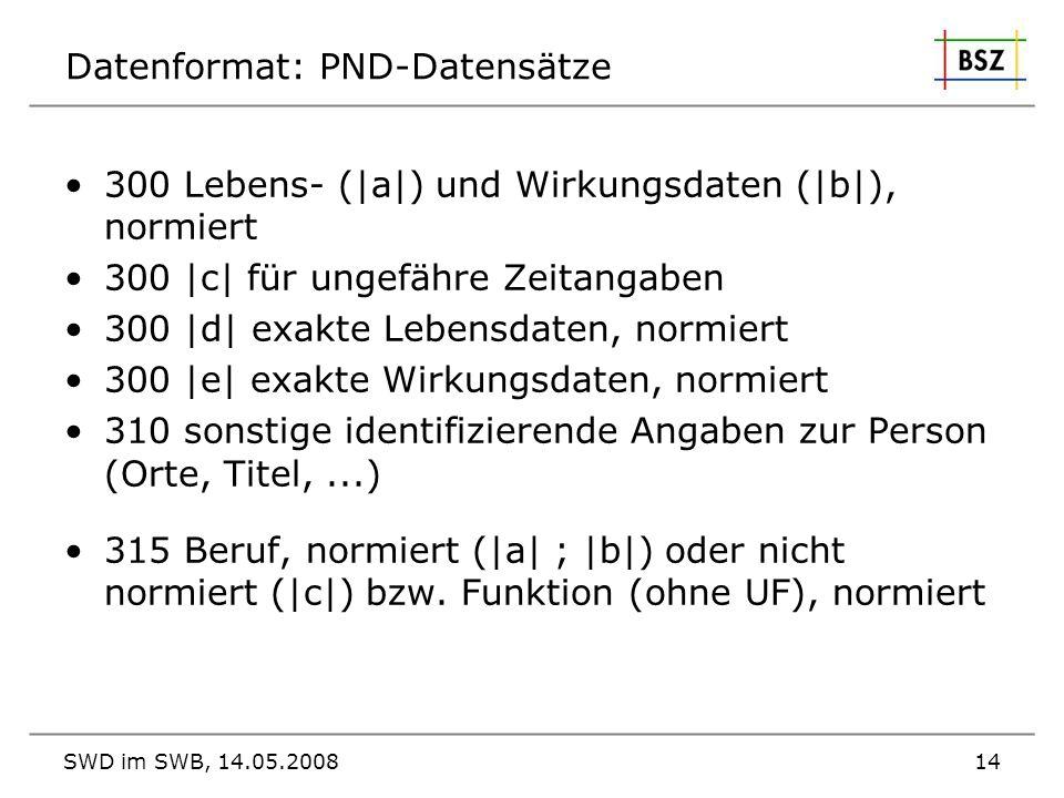 SWD im SWB, 14.05.200814 Datenformat: PND-Datensätze 300 Lebens- ( a ) und Wirkungsdaten ( b ), normiert 300  c  für ungefähre Zeitangaben 300  d  exa