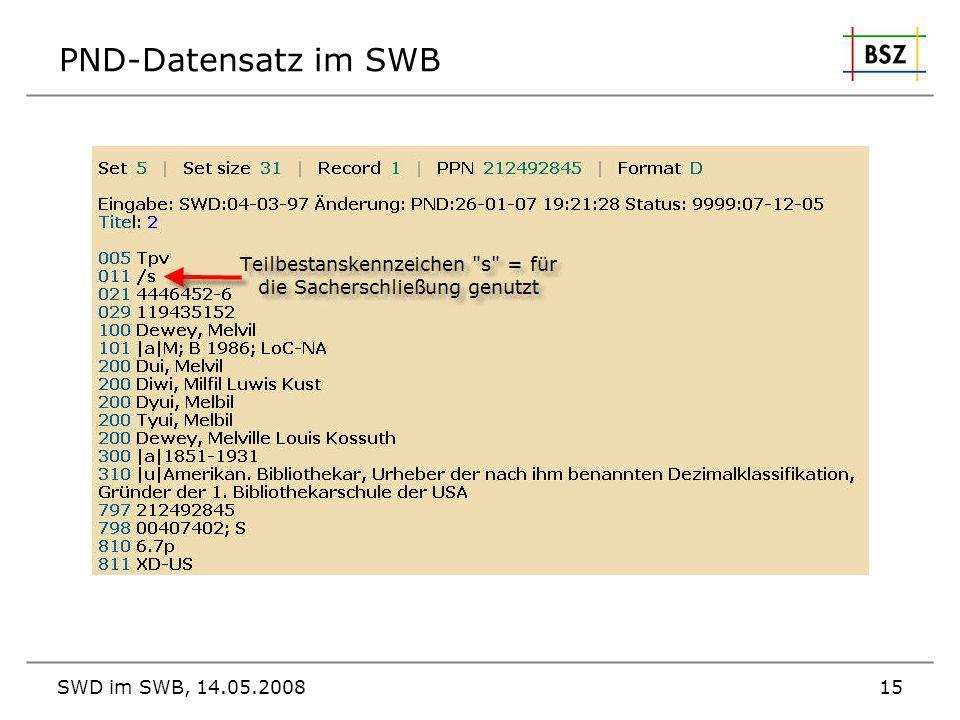 SWD im SWB, 14.05.200815 PND-Datensatz im SWB