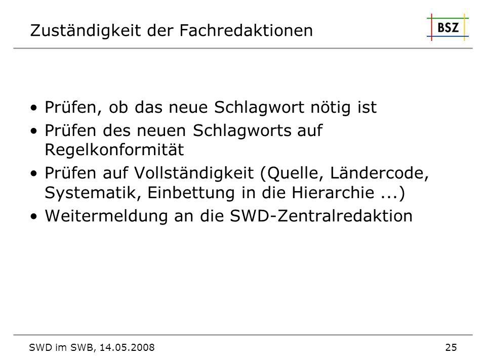 SWD im SWB, 14.05.200825 Zuständigkeit der Fachredaktionen Prüfen, ob das neue Schlagwort nötig ist Prüfen des neuen Schlagworts auf Regelkonformität