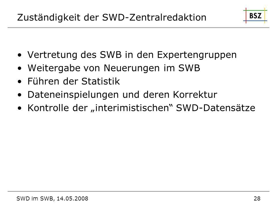 SWD im SWB, 14.05.200828 Zuständigkeit der SWD-Zentralredaktion Vertretung des SWB in den Expertengruppen Weitergabe von Neuerungen im SWB Führen der