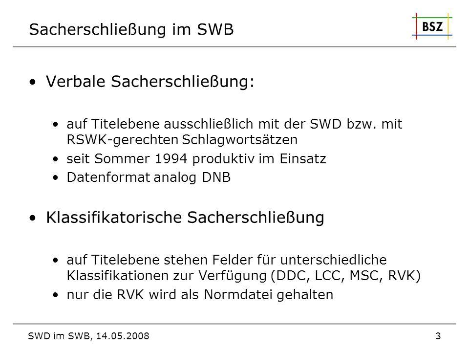 SWD im SWB, 14.05.20083 Sacherschließung im SWB Verbale Sacherschließung: auf Titelebene ausschließlich mit der SWD bzw. mit RSWK-gerechten Schlagwort