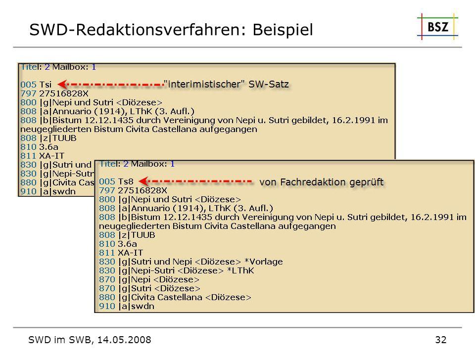 SWD im SWB, 14.05.200832 SWD-Redaktionsverfahren: Beispiel