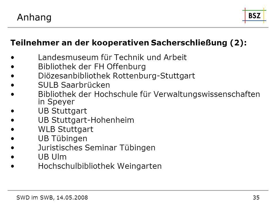 SWD im SWB, 14.05.200835 Anhang Teilnehmer an der kooperativen Sacherschließung (2): Landesmuseum für Technik und Arbeit Bibliothek der FH Offenburg D