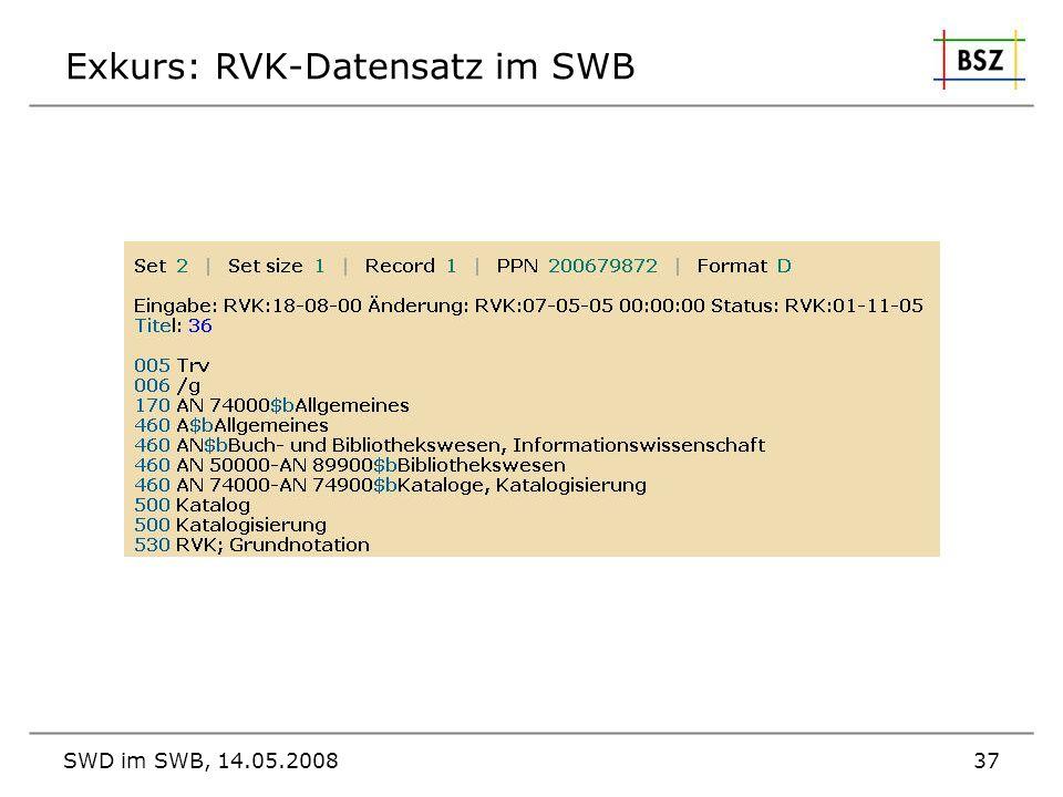SWD im SWB, 14.05.200837 Exkurs: RVK-Datensatz im SWB