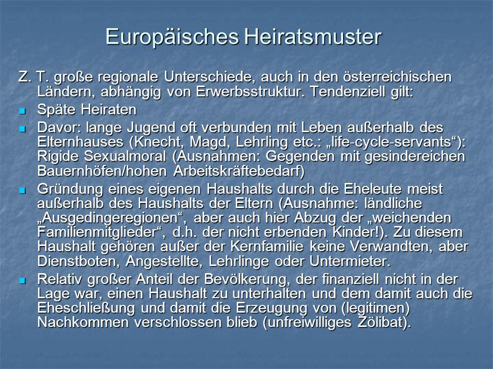 Europäisches Heiratsmuster Z. T. große regionale Unterschiede, auch in den österreichischen Ländern, abhängig von Erwerbsstruktur. Tendenziell gilt: S