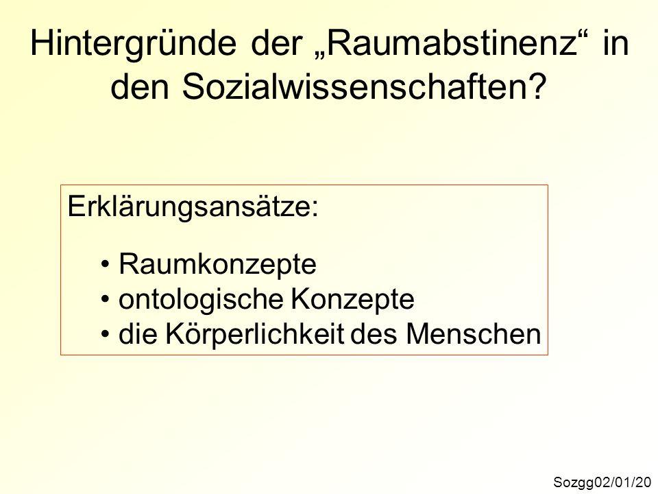 Hintergründe der Raumabstinenz in den Sozialwissenschaften.