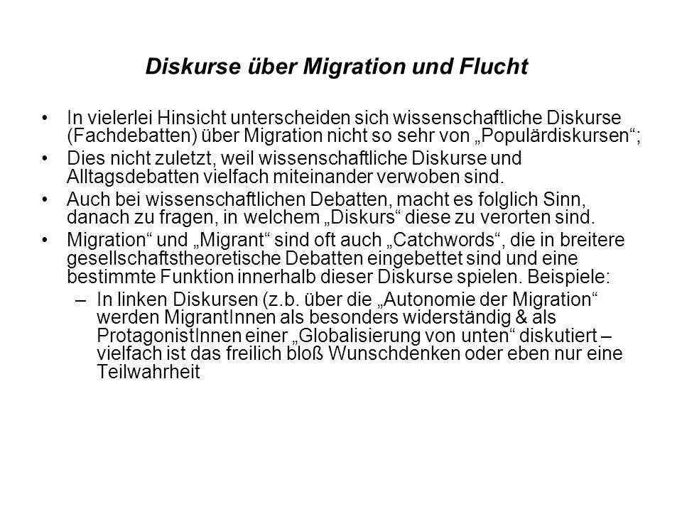Diskurse über Migration und Flucht In vielerlei Hinsicht unterscheiden sich wissenschaftliche Diskurse (Fachdebatten) über Migration nicht so sehr von