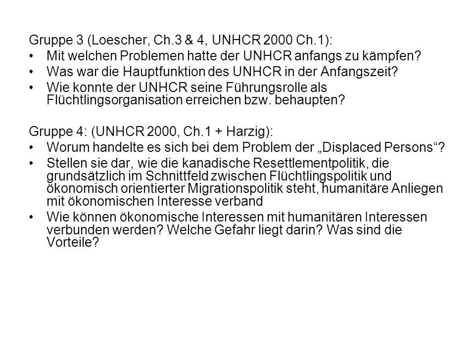 Gruppe 3 (Loescher, Ch.3 & 4, UNHCR 2000 Ch.1): Mit welchen Problemen hatte der UNHCR anfangs zu kämpfen? Was war die Hauptfunktion des UNHCR in der A