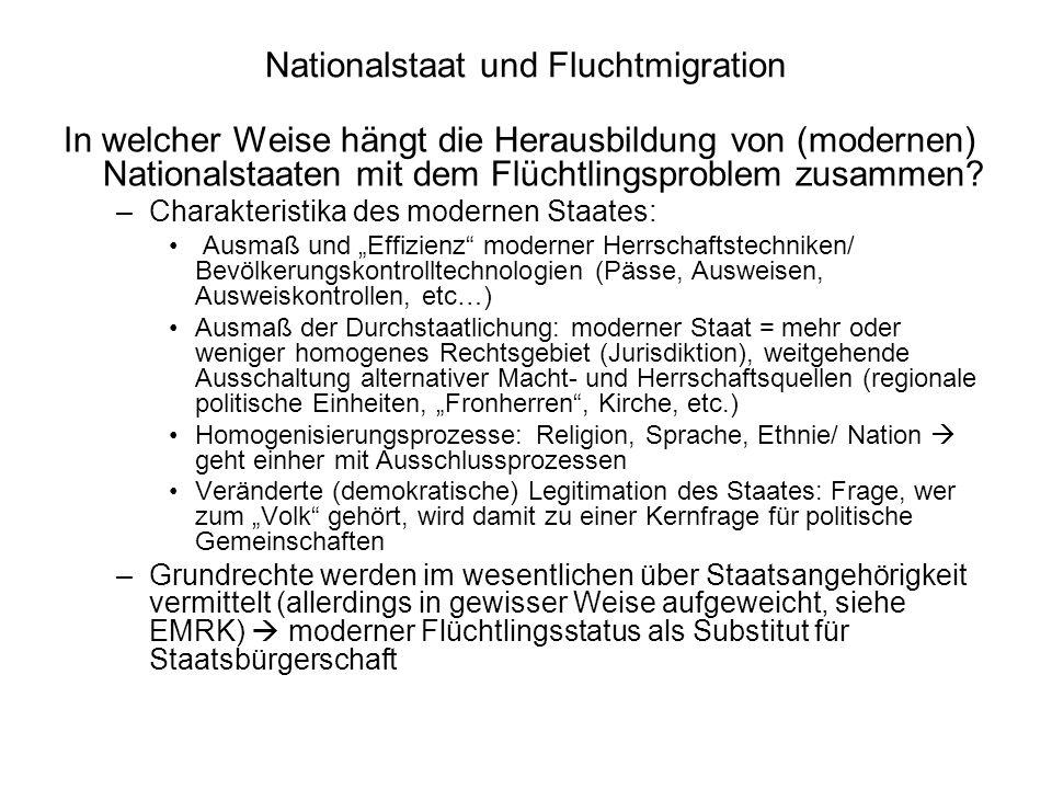 Historische Phasen: Welche waren jeweils die wichtigsten Flüchtlingsgruppen.