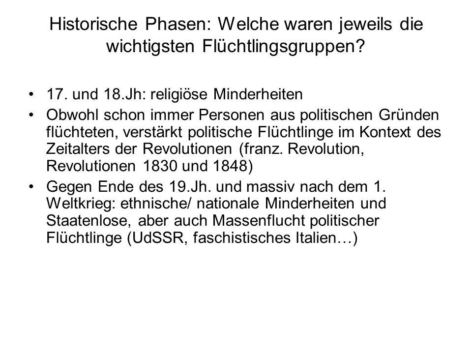 Historische Phasen: Welche waren jeweils die wichtigsten Flüchtlingsgruppen? 17. und 18.Jh: religiöse Minderheiten Obwohl schon immer Personen aus pol
